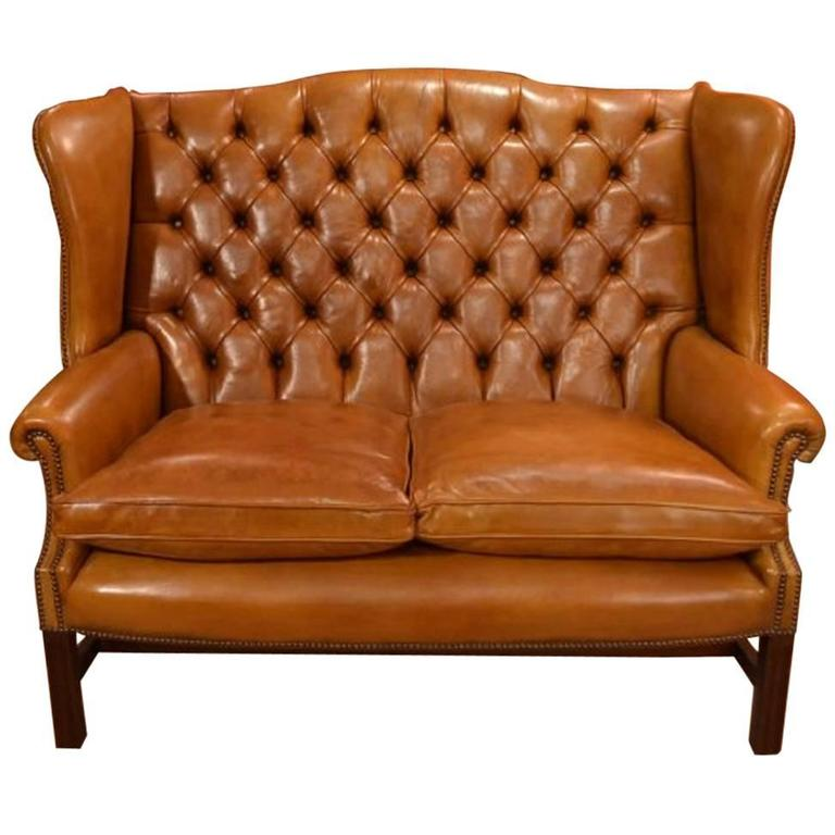 english handmade leather club settee sofa cognac for sale. Black Bedroom Furniture Sets. Home Design Ideas
