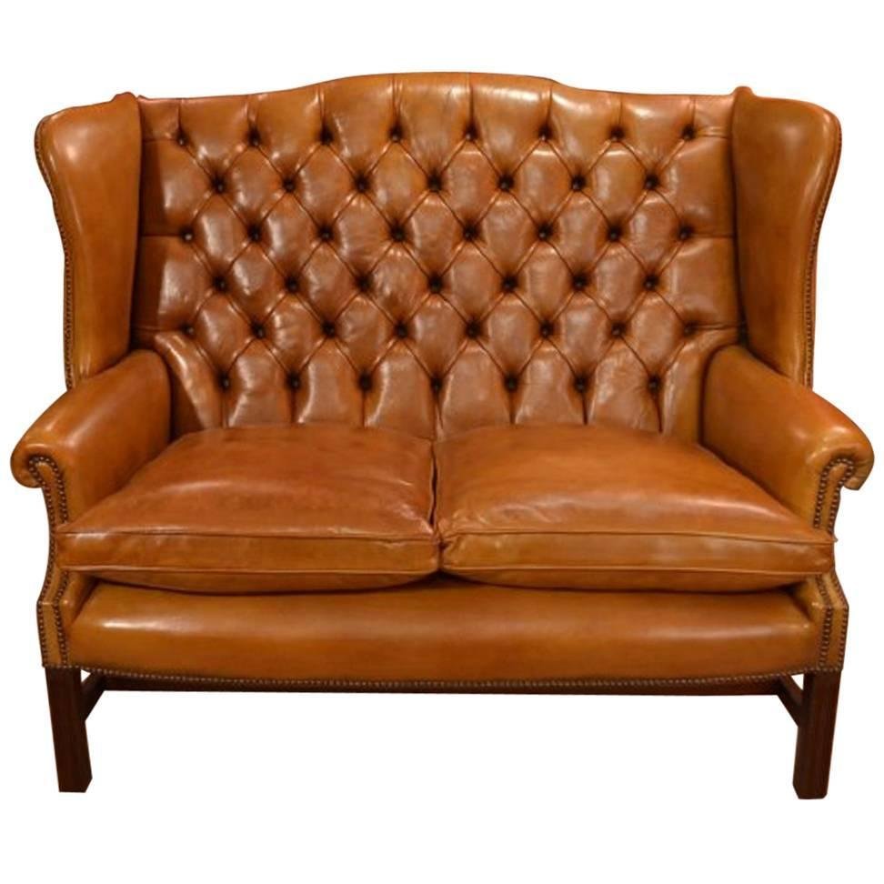 english handmade leather club settee sofa cognac for sale at 1stdibs. Black Bedroom Furniture Sets. Home Design Ideas