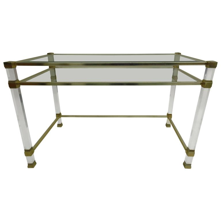 French Mid-Century Modern Lucite and Glass Desk / Vanity by Pierre Vandel