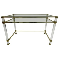 French Mid-Century Modern Lucite, Nickel & Glass Desk / Vanity by Pierre Vandel