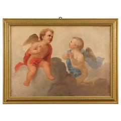 20th Century Italian Painting Depicting Pair of Little Angels