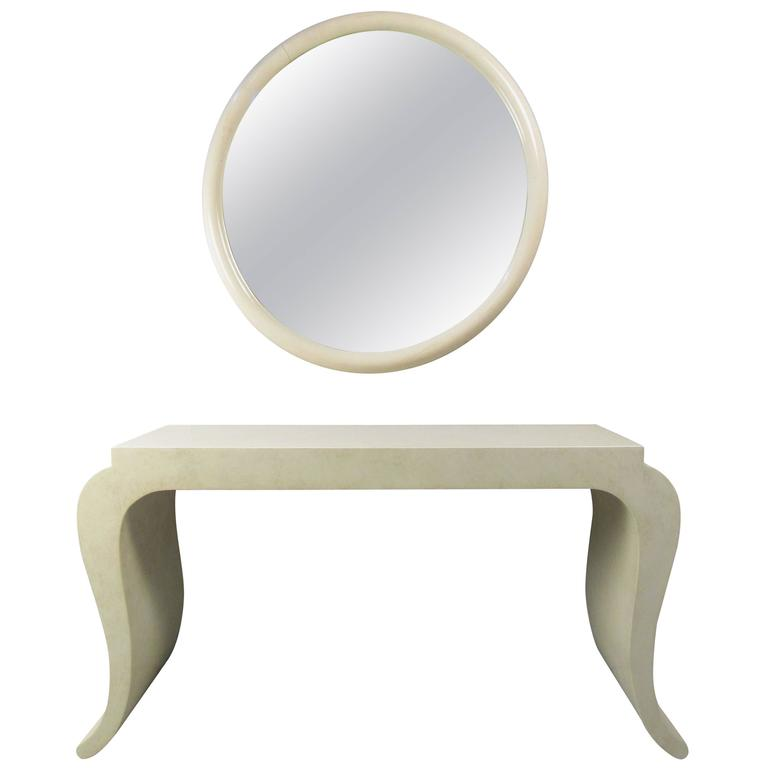 Contemporary Modern Console Table With Wall Mirror For Sale