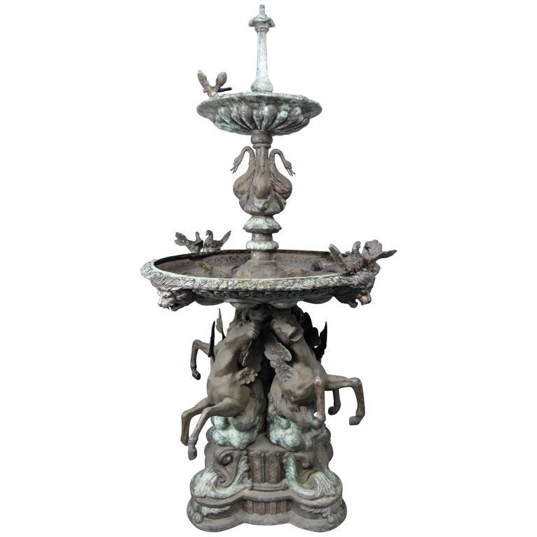 Impressive Bronze Garden Fountain With Lionhead Spout