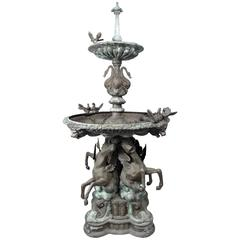 Impressive Bronze Garden Fountain with Lionhead Spout Water Feature