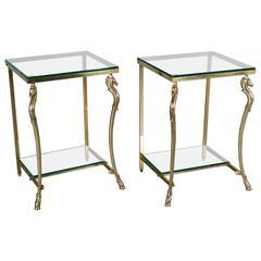 Pair of Maison Jansen Brass Side Tables