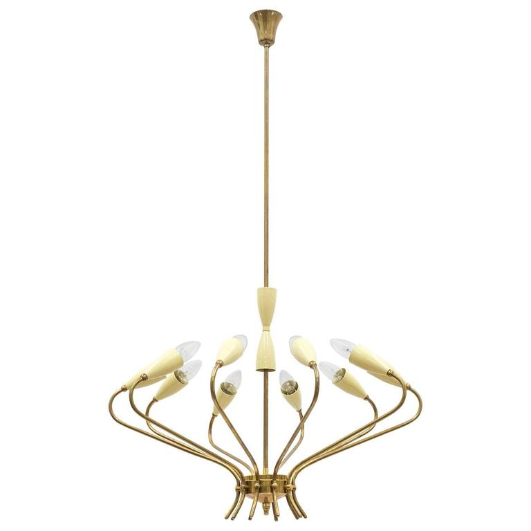 Ten-Arm Italian Brass Chandelier by Lumi Milano, 1950s 1