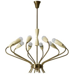 Ten-Arm Italian Brass Chandelier by Lumi Milano, 1950s