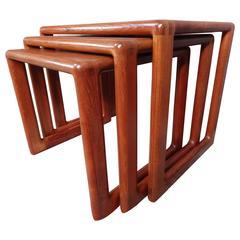 Rare Set of Three Solid Teak Mid-Century Modern Dyrlund Nesting Tables