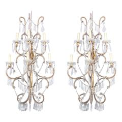 Pair of 19th Century Cristal Beaded Venitian Sconces