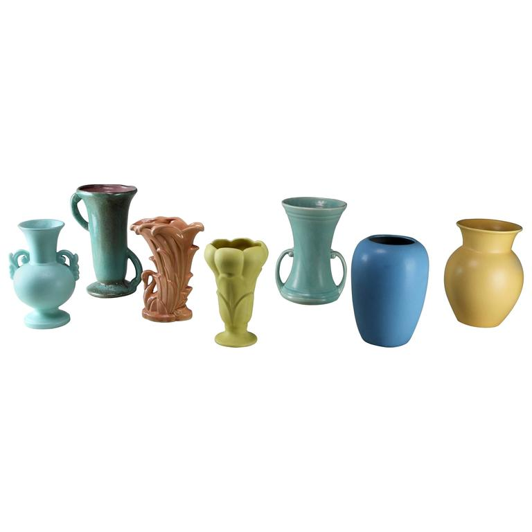 Vintage Collection of Seven Mid-Century Pottery Vases Various Makers