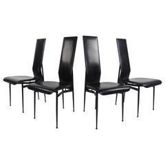 Italian Modern Leather Dining Chairs by Fasem