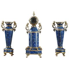 Clock with Vases in Lapis Lazuli and Silver, Vienna, 19th Century