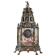 Viennese Enamel and Silver Clock