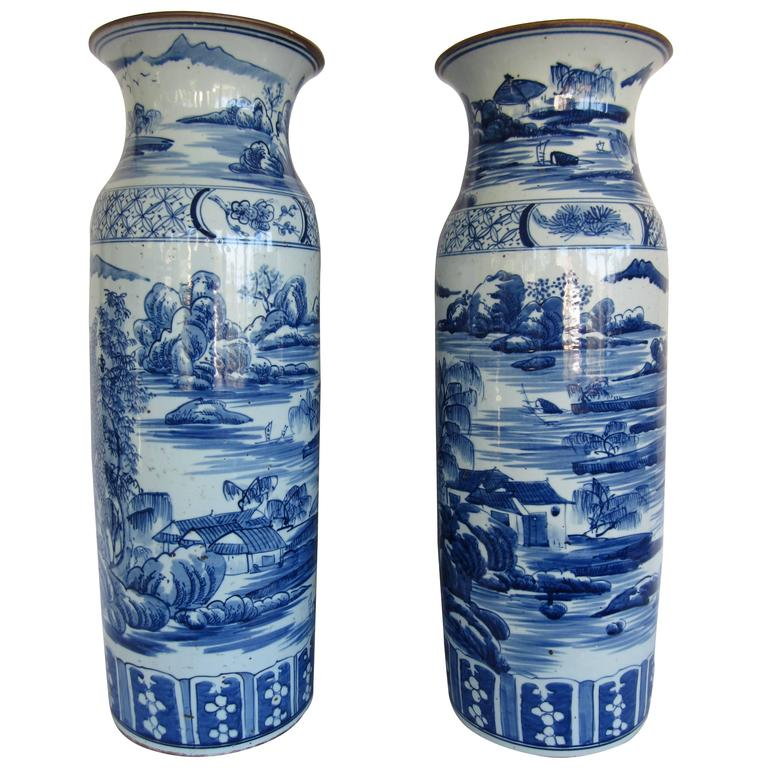 Large Pair Of Chinese Blue And White Vases For Sale At 1stdibs