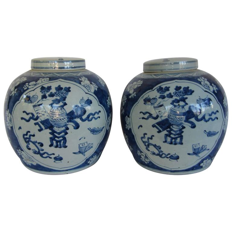 Chinese Blue and White Lidded Ginger Jars