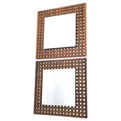 Pair of Square Walnut Wall Mirrors Attributed to Giovanni Michelucci, 1960s