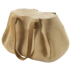 Bag Stool in Solid Natural Cedar Wood Hand-Carved with Leather