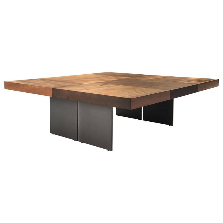 Kauri Wood Coffee Table In Solid Kauri Wood On Oiled Iron Base For Sale