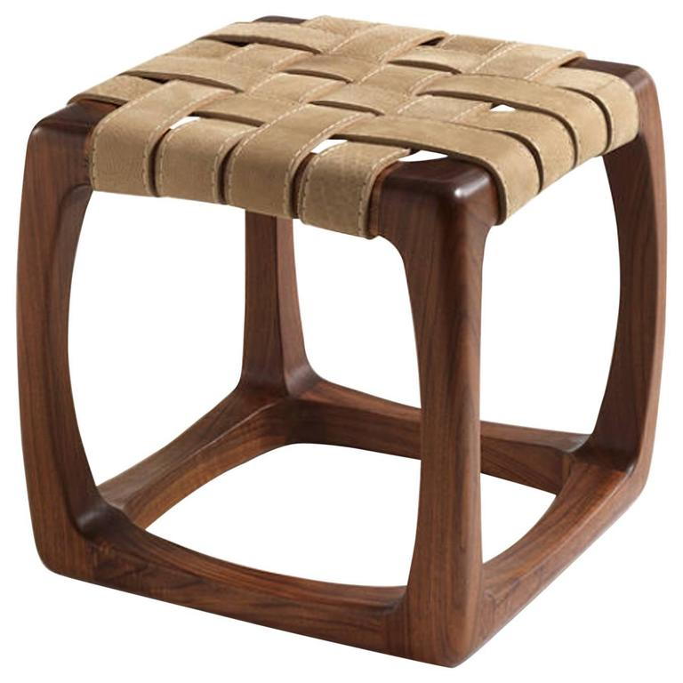 Berlingo Stool in Solid Polished Walnut with Utah Leather Straps