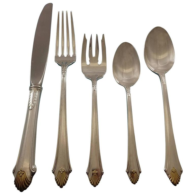 Edgemont Gold by Gorham Sterling Silver Flatware Set for 12 Service 66 Pieces