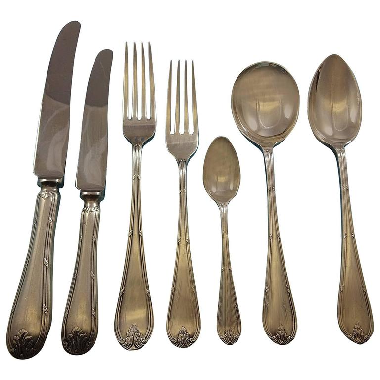 Louis XVI by Sheffield Mappin Webb Silver Plate Flatware Set Service, 92 Pieces For Sale