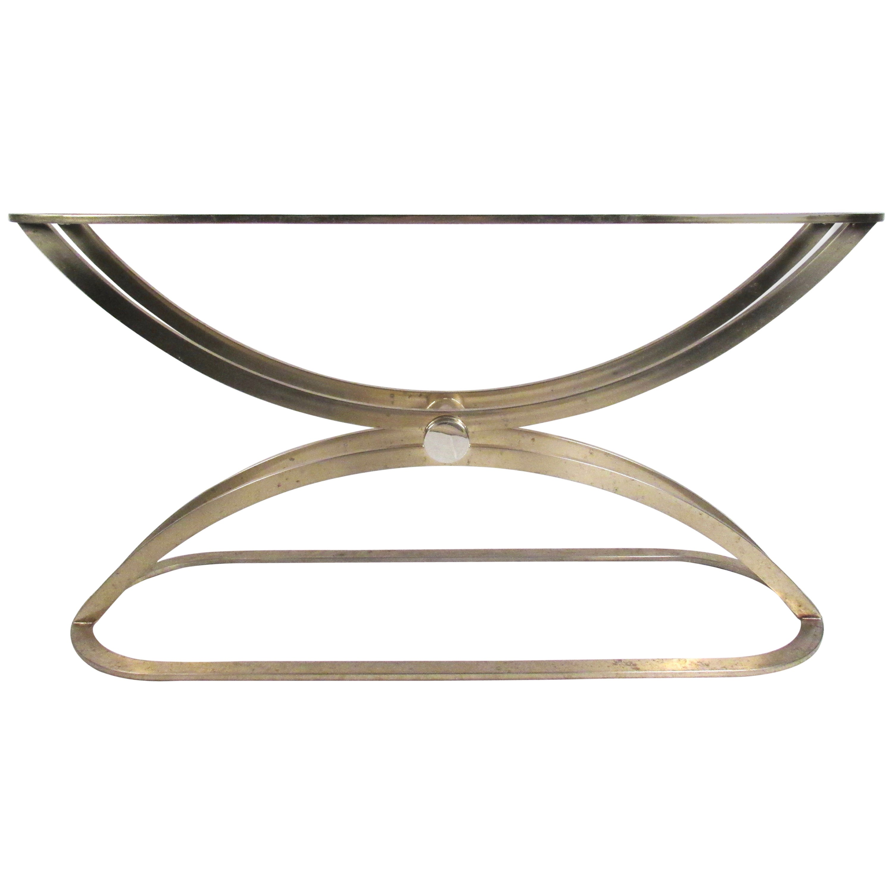 Mid-Century Modern Sculptural Brass Console Table