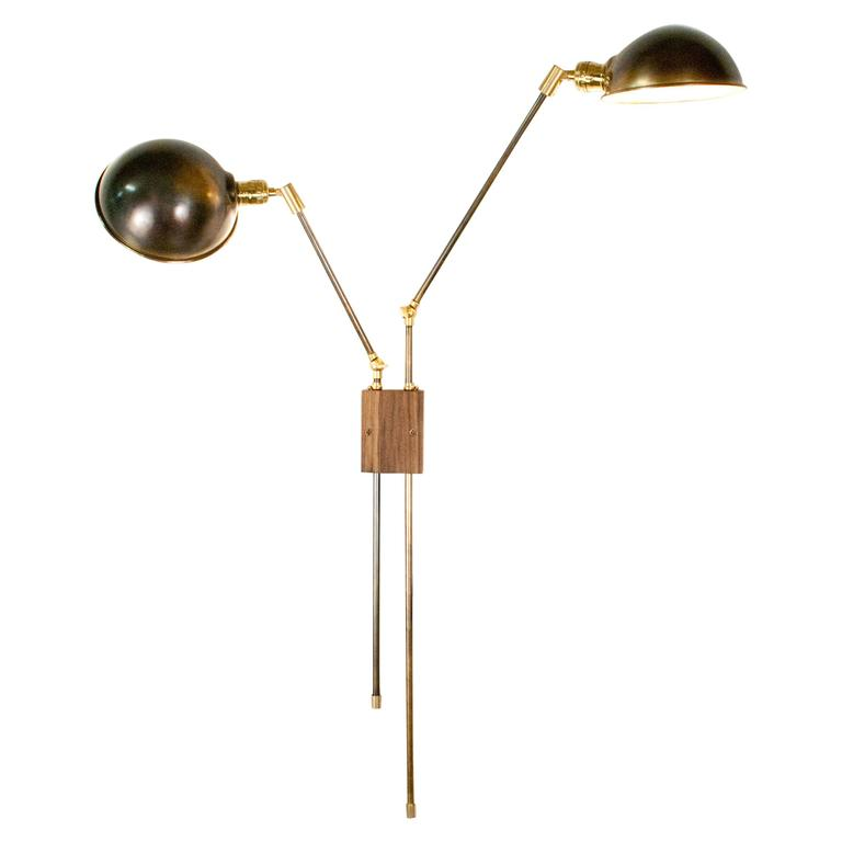 Wall Sconces Double : Atlas Double Wall Lamp Sconce in Brass and Walnut For Sale at 1stdibs