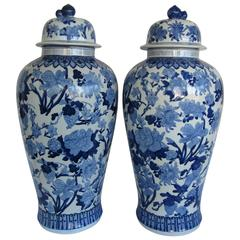 Large Pair of Chinese Blue and White Vases with Lids
