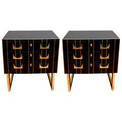 Pair of Black Mirror Commodes