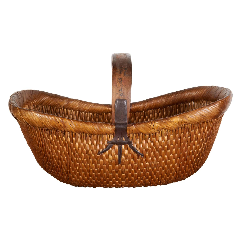 Old Handmade Baskets : Antique handmade willow flower basket for sale at stdibs