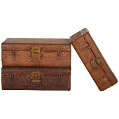 Collection of Handmade Rattan Suitcases with Perfectly Finished Wooden Interiors