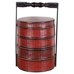 Vintage Red and Black Burmese Lacquer Stacked Food Box