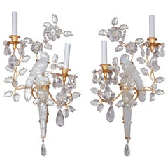 Pair of Finely Carved, Parrot Rock Crystal Baguès Style, Wall Appliqués/Sconces