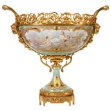 French Sèvres Porcelain & Ormolu-Mounted Hand-Painted Oval Centerpiece/Jardenier