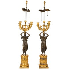 Pair of Superb Antique Italian Neoclassical Empire Bronze Figural Candelabras