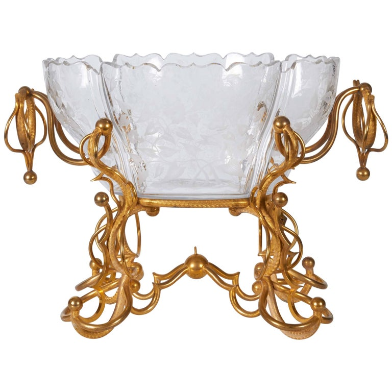 Baccarat Crystal and Dore Bronze-Mounted Centrepiece or Jardinière For Sale