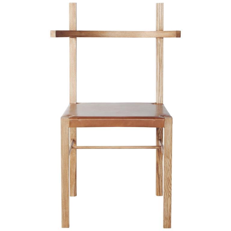 Soren Chair in Cinnamon Ash Wood and Tan Leather