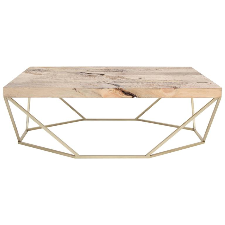 Dusk Coffee Table, Large In Salvaged Wood And Brushed Brass 1