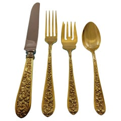 Corsage by Stieff Sterling Silver Flatware Service 12 Set Vermeil Gold