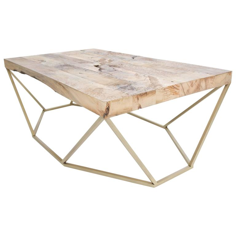 Dusk Coffee Table, Small In Salvaged Wood And Brushed Brass 1