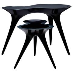 Contemporary Black Ice Tables in Corian and Glass