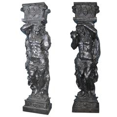 Pair of Bronze Atlas Male Figurine Statues Architectural