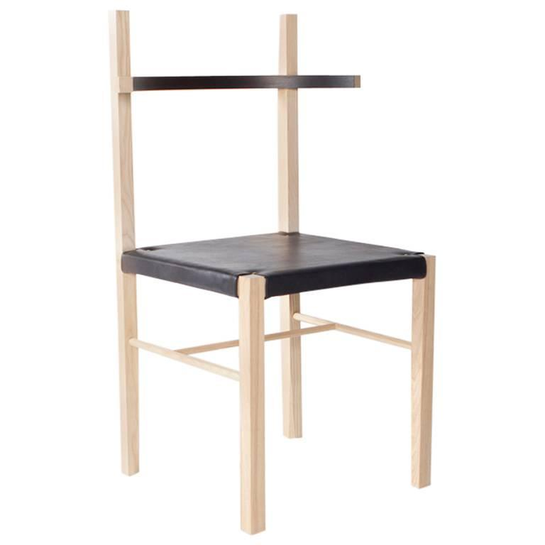 Soren Chair in Blond Ashwood and Black Leather