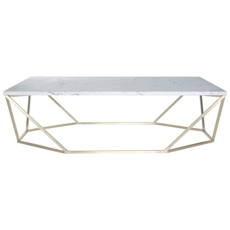 Dusk Coffee Table, Small in White Marble and Brushed Brass