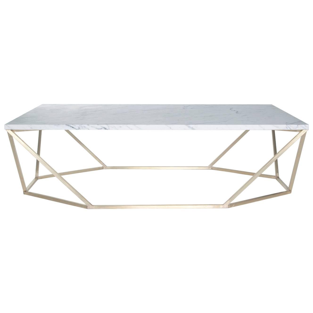 White Marble Fontana Coffee Table Brass: Dusk Coffee Table, Small In White Marble And Brushed Brass
