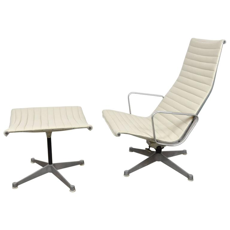 Eames Herman Miller Aluminium Group Lounge Chair and Ottoman 1