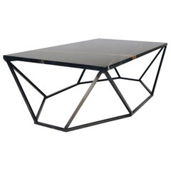 Dusk Coffee Table, Small in Polished Black Marble and Blackened Steel