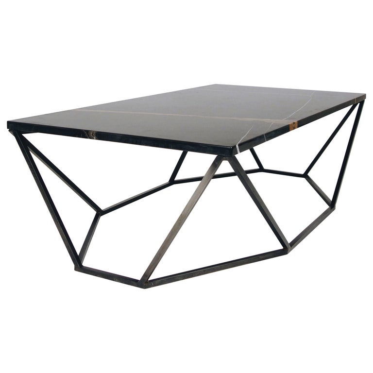 Dusk Coffee Table, Small in Polished Black Marble and Blackened Steel For Sale