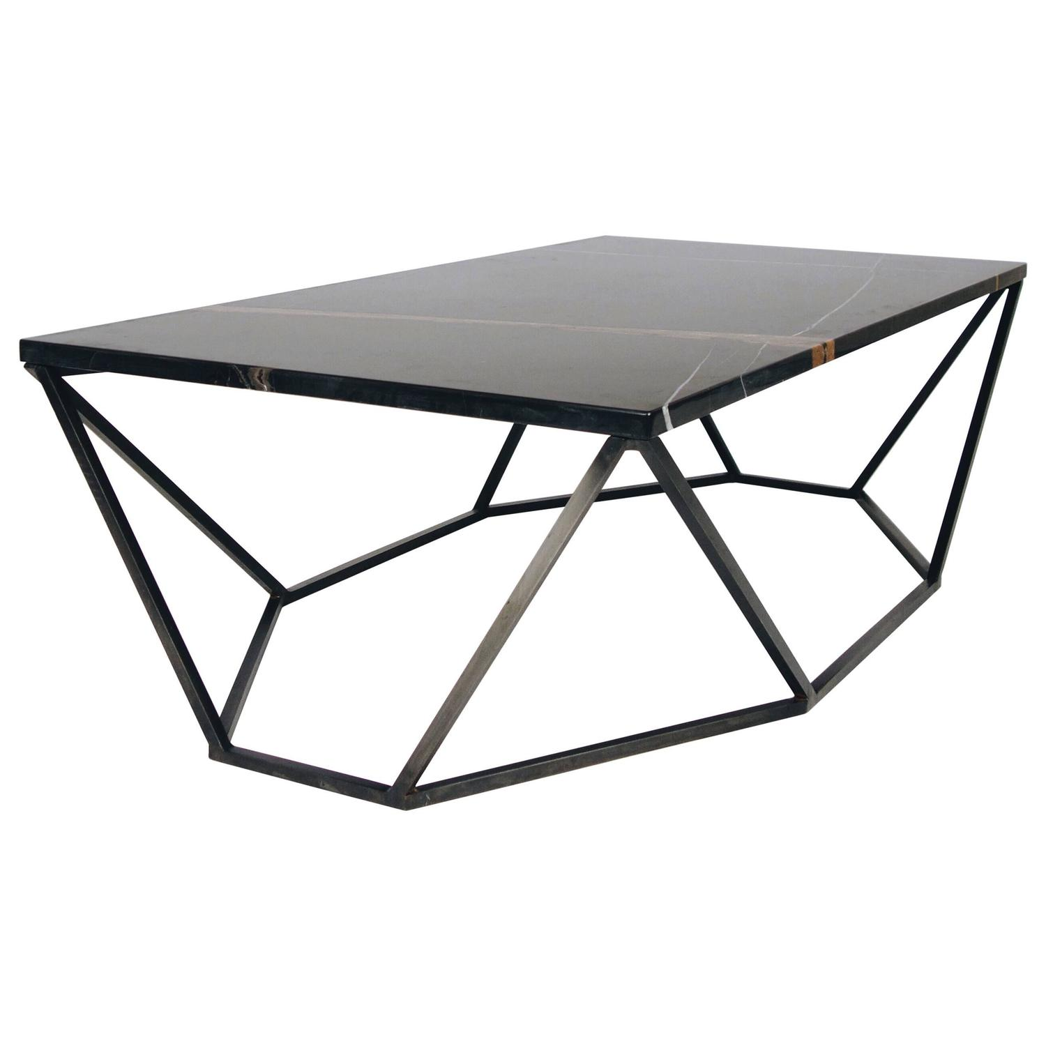 Dusk Coffee Table Small In Polished Black Marble And Blackened Steel For Sale At 1stdibs