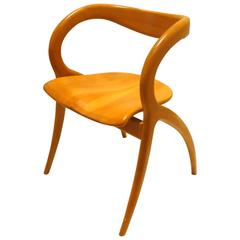 Striking Sculpted Organic Free-Form Cherrywood Italian Chair by a Sibau